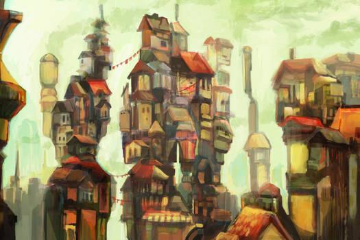 Sparse Mistseek City concept art