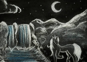 [Aceo] unicorn at night by Lymsl