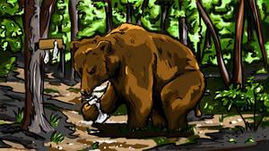 Bear Pooping In The Woods