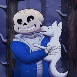 Cute doggo loves bones by Aid-the-dragon