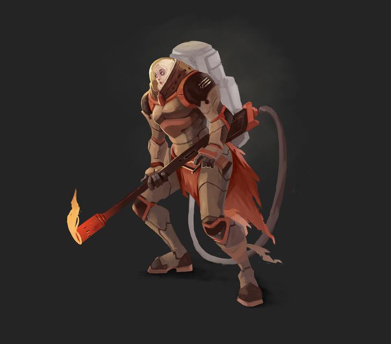 WarWorld Concept Character Designs - FireStarter by kofab