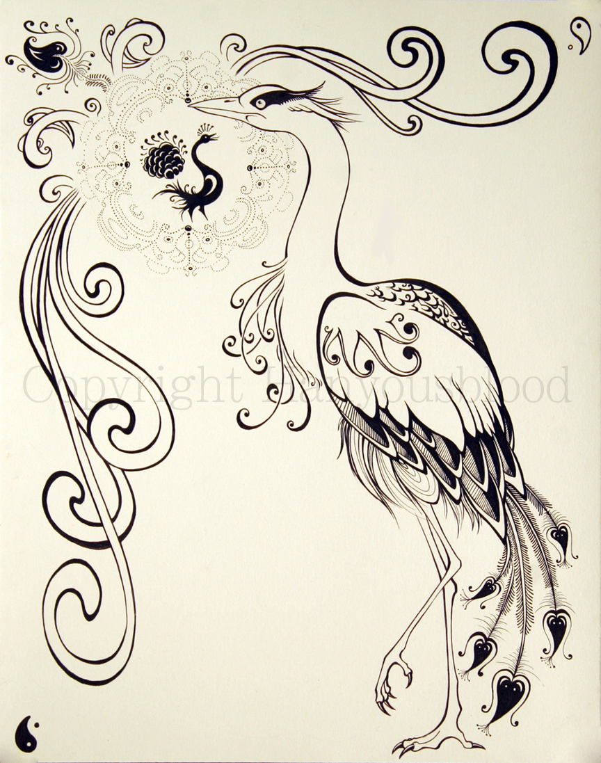 Art Nouveau Heron Thing By Hanmonster Traditional Art Drawings Animals