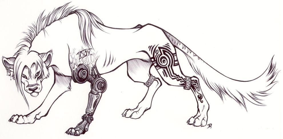 Fantasy lion drawing lion type specimen xxiv by