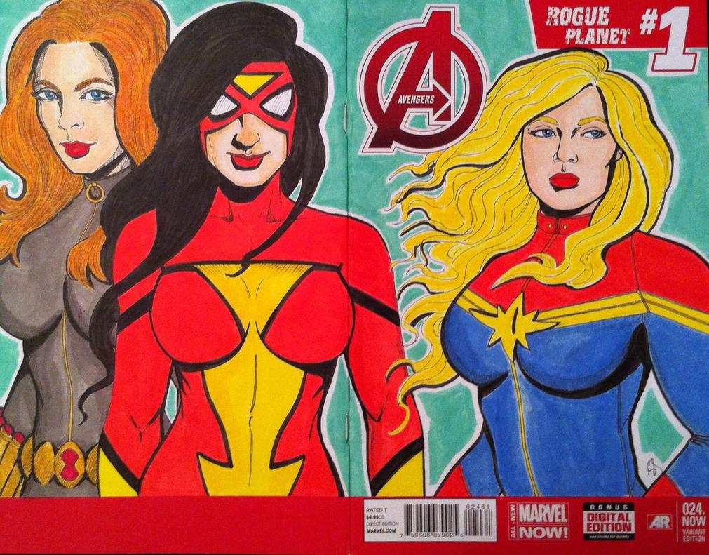 Captain Marvel/ Spider Woman/ Black Widow By Seanpatrick76