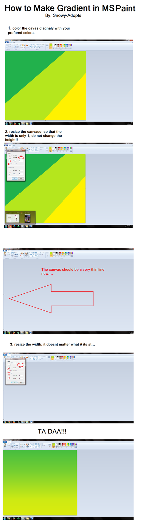 MS Paint Tutorial #1 Gradiants by Snowy-Adopts