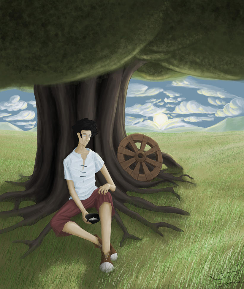 The man under the Bodha tree by Shinra-sanne
