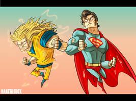 Goku vs Superman by hanzthebox