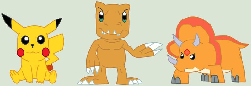 Mlp Pikachu,Agumon And Chomp Vector