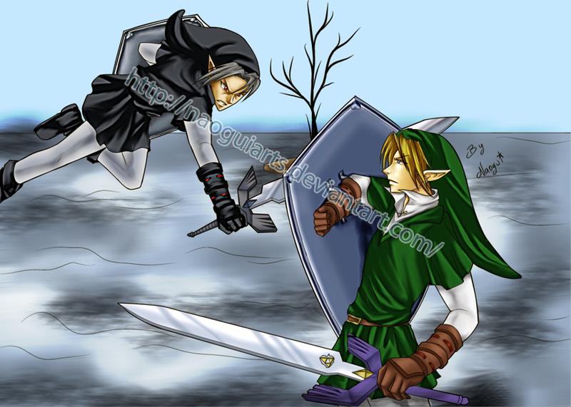link vs dark link by naoguiarts on deviantart