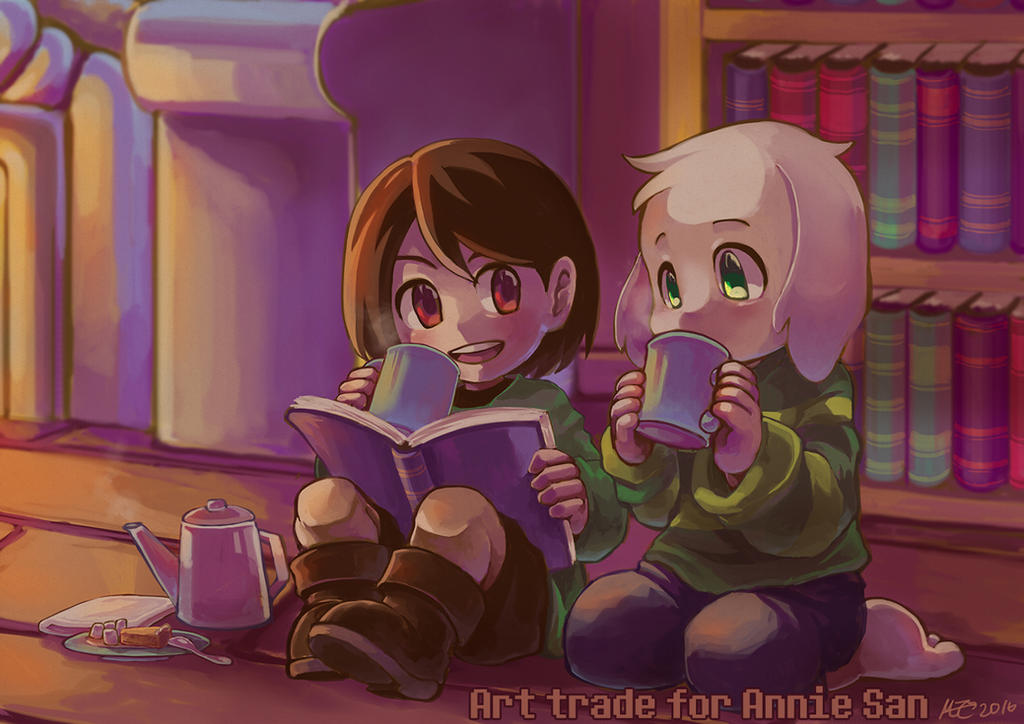 Art trade: Chara and Asriel by MZ15