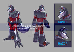[Commission] Wolf Reploid character sheet
