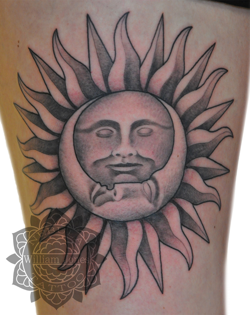 sun and moon together tattoo