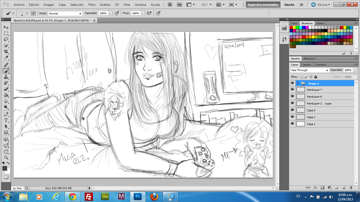 D Line Drawings Xbox : Sketch gamer girl xbox fan to gears of war by