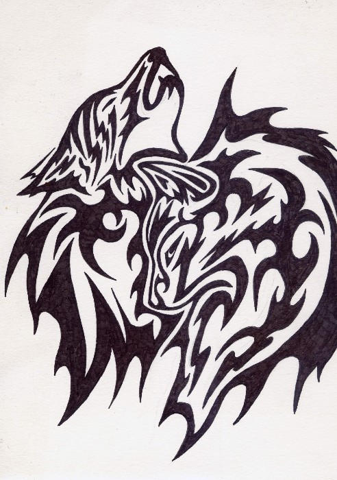 Two Wolves Tribal Tattoo by Vargablod