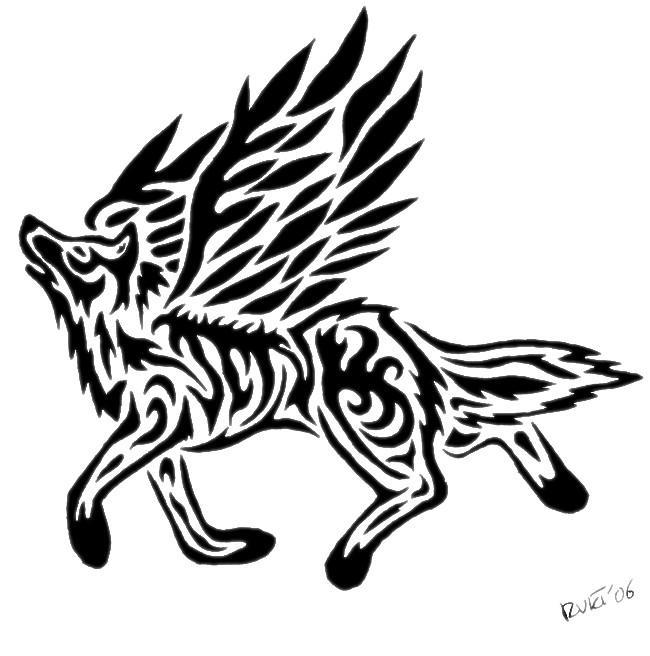 Tribal Winged Wolf by Vargablod on DeviantArt