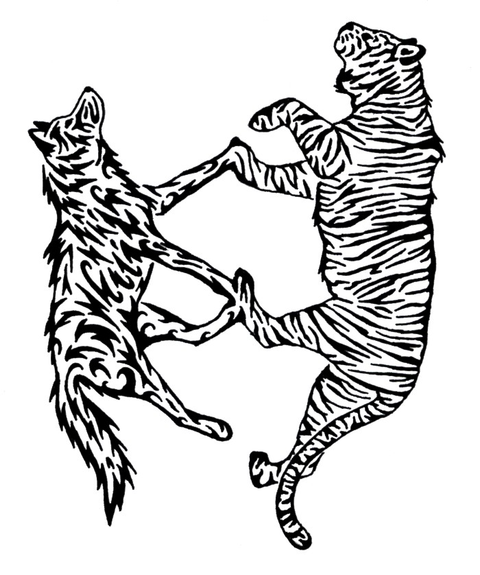 tiger tattoo designs. Wolf and Tiger Tattoo by