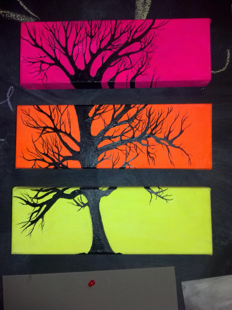 Multiple Canvas Tree Painting By Cit Cat Kate On Deviantart