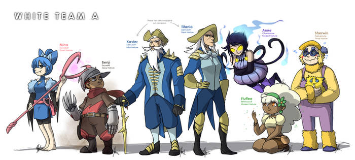 Pokemon OC: White Team A Roster by ky-nim