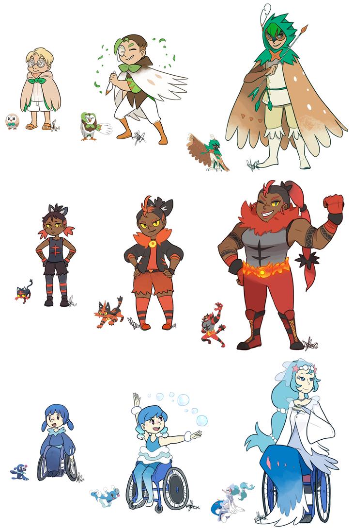 pokemon: sun+moon starters updatedspoiler alert by ky-nim on