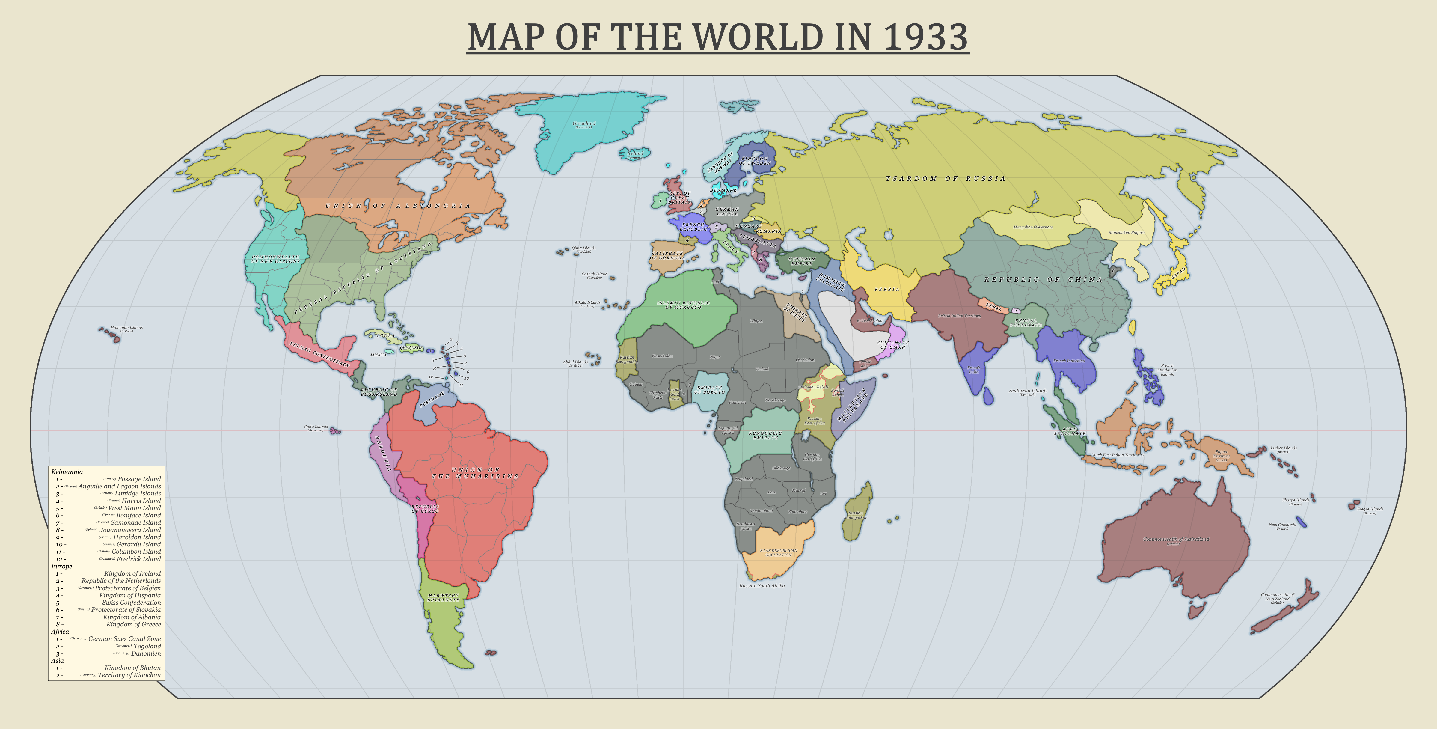World Map 1933.Map Of The World In 1933 Imaginarymaps