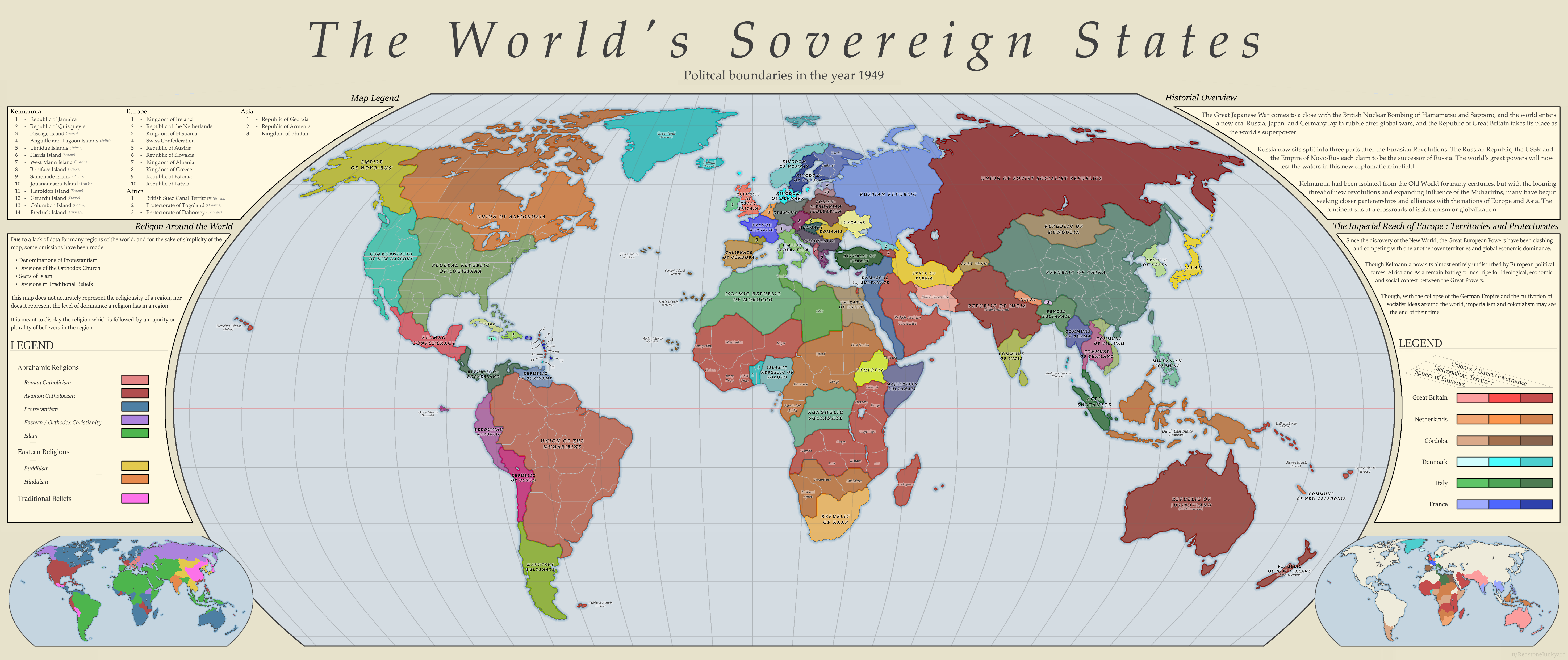 the worlds sovereign states political boundaries in the year