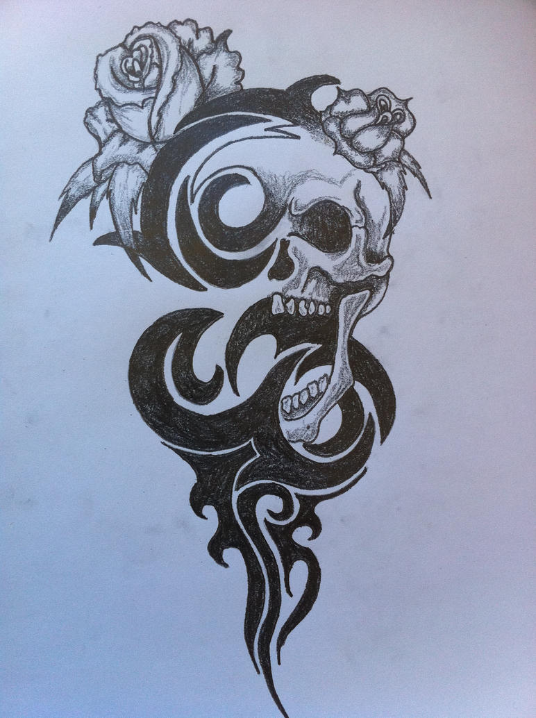 Tribal skull by inkmanik