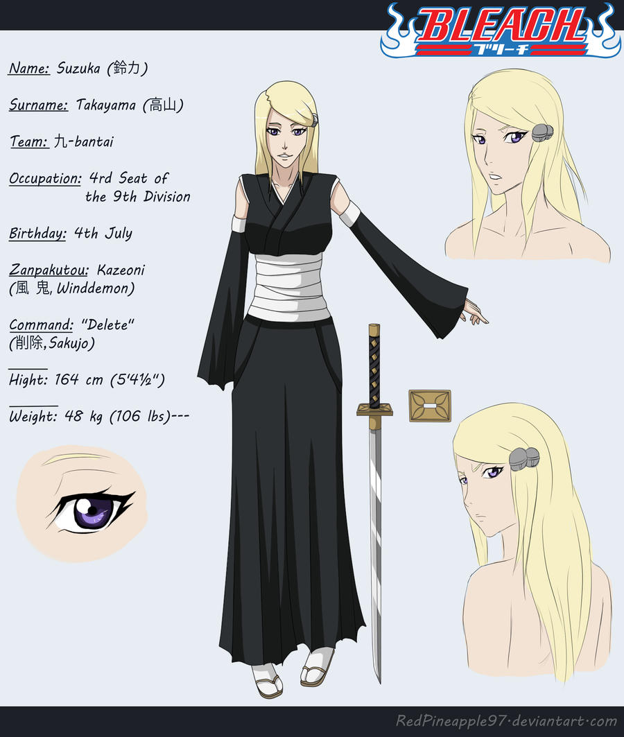 Oc Captains On Bleach Oc Characters: Bleach OC: Suzuka Takayama Sheet By RedPineapple97 On