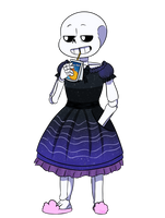 [AT] Skeleboy in a dress by DesDraws