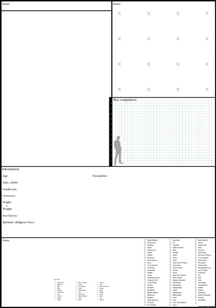Blank Character Sheet By BambooGecko ...  Blank Reference Sheet