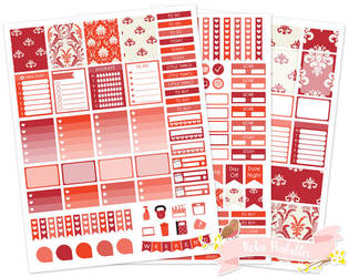 Red Damask Weekly Printable Planner Sticker Kit by Robinprintables