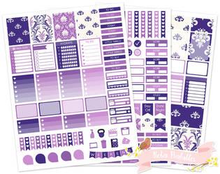 Purple damask weekly printable planner sticker kit by Robinprintables
