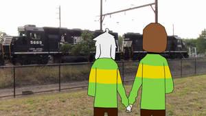Chara and Asriel near a freight train