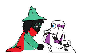 Astell showing Ralsei her work (Ralsei X Astell)