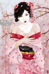 Geisha among Sakura Blossoms