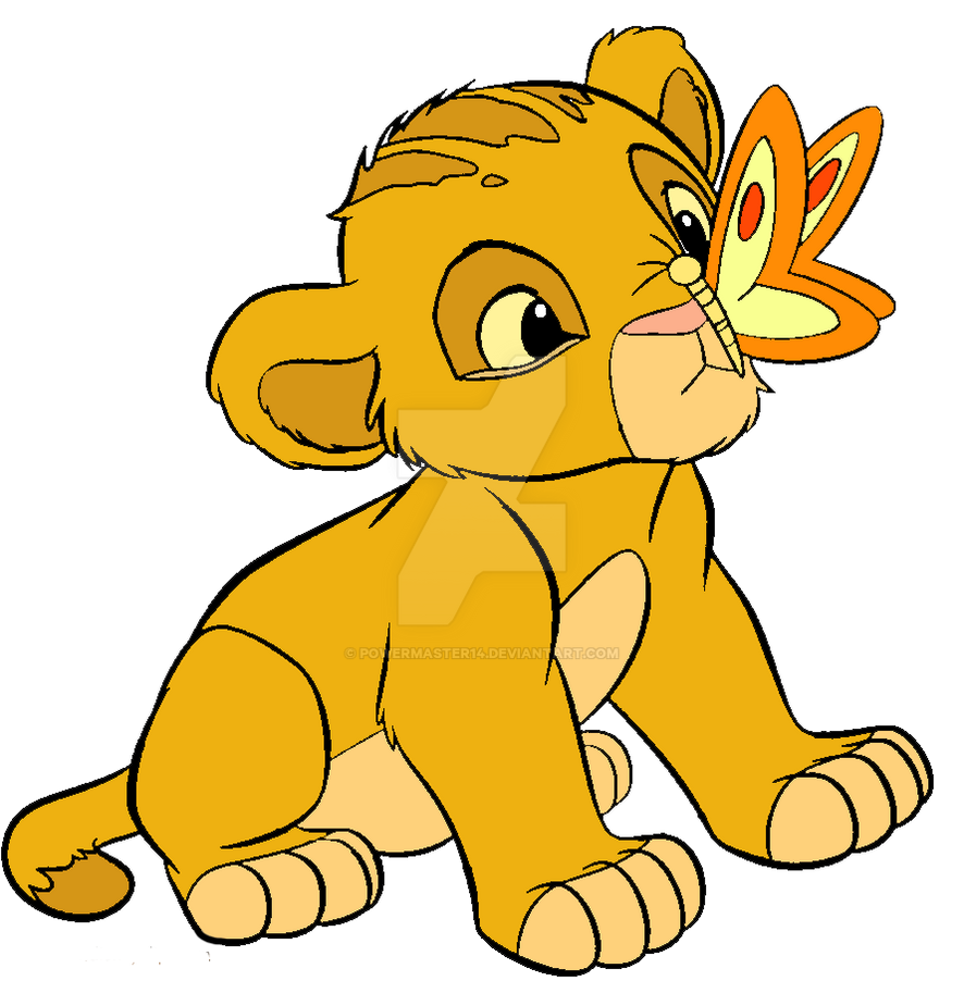 Baby simba and a butterfly by powermaster14
