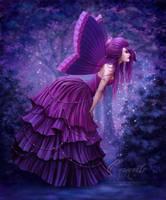 Pretty Purple Peaceful Butterfly by Enamorte