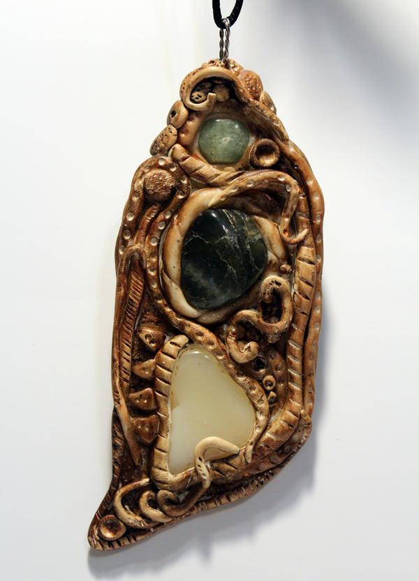 Labradorite Polymer Clay Organic Pendant by druideye