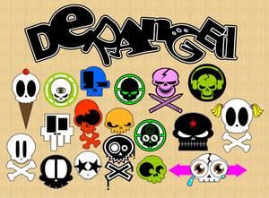 Deranged Skull Sticker Set
