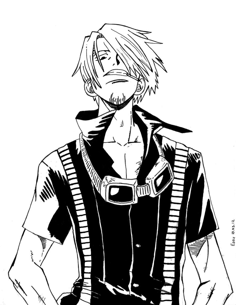 One Piece - Sanji black and white by Eseyy on DeviantArt