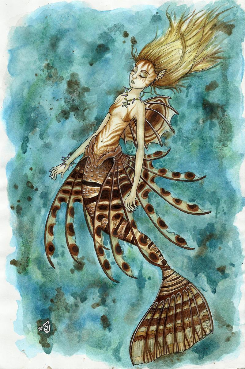 Lionfish mermaid tattoo