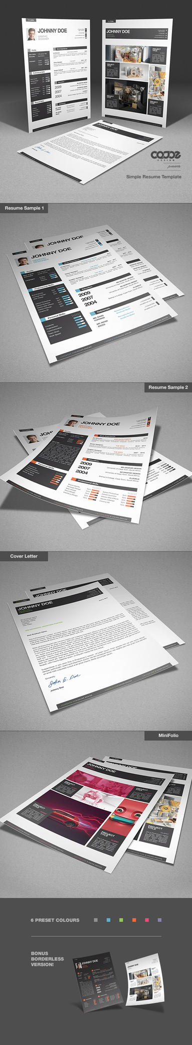 Simple Resume / CV Template and Mini Portfolio by CaJoE-Design