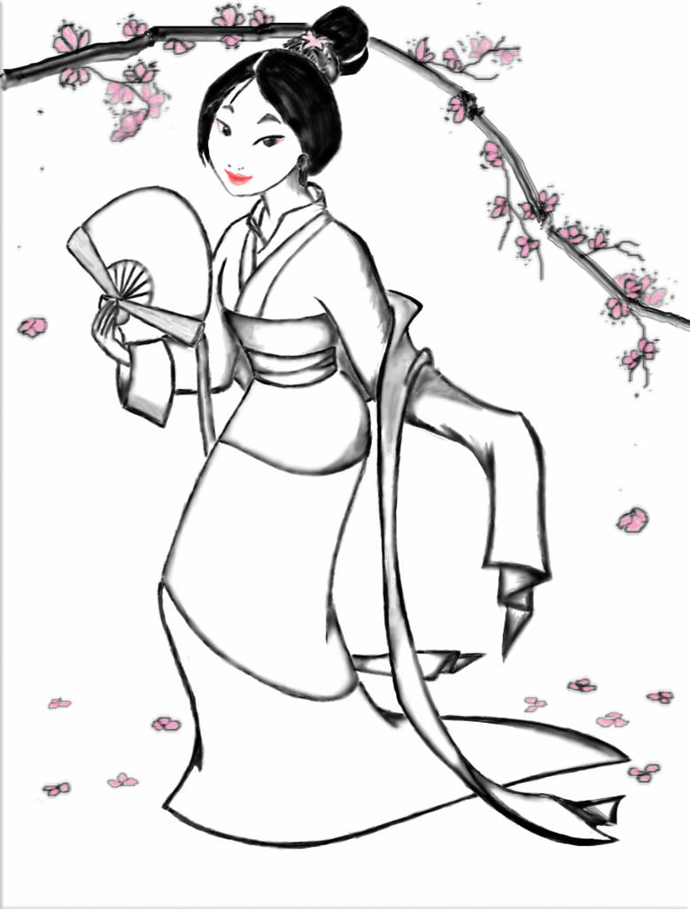 mulan coloring page by myaime on deviantart