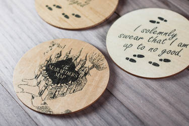 Marauder's Map coasters (Free tutorial) by mygeekymuse