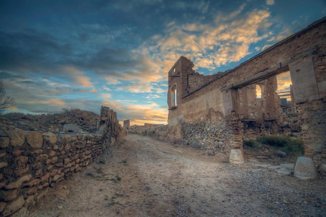 Sunset over Belchite by Andrei-Oprinca