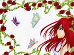 Butterflies Over Roses