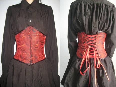 Red , silk underbust corset
