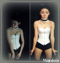 White silk corset