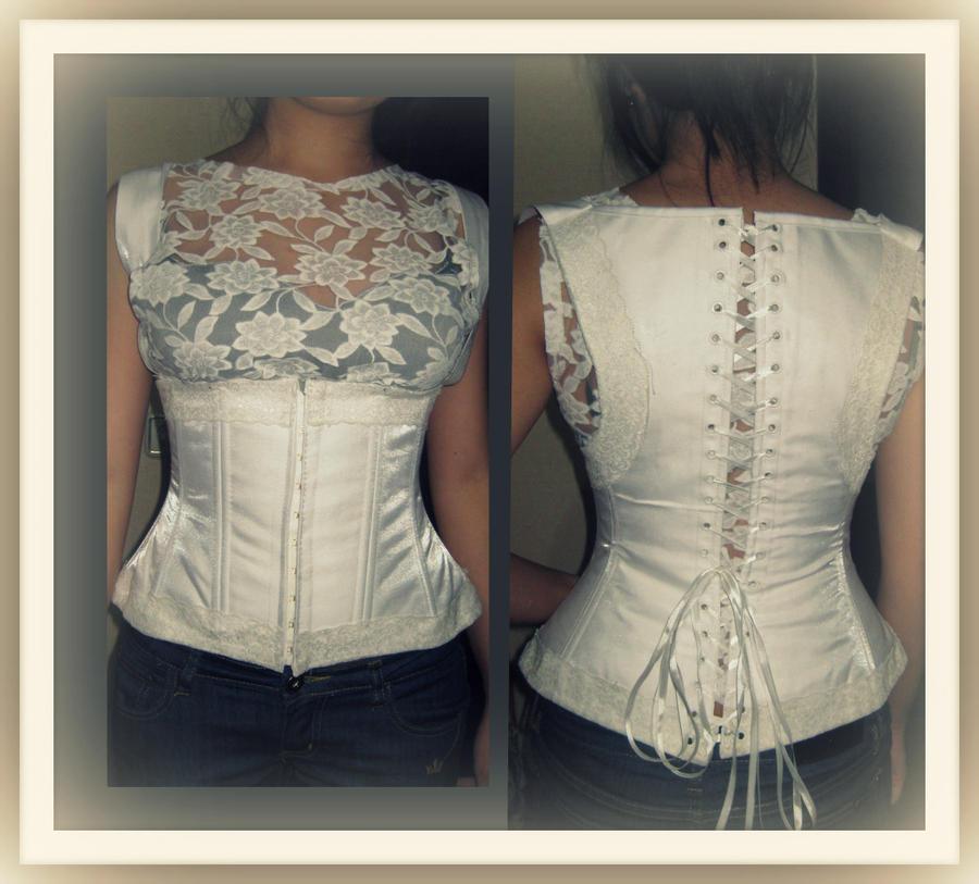 White satin corset with straps by maraluna on DeviantArt