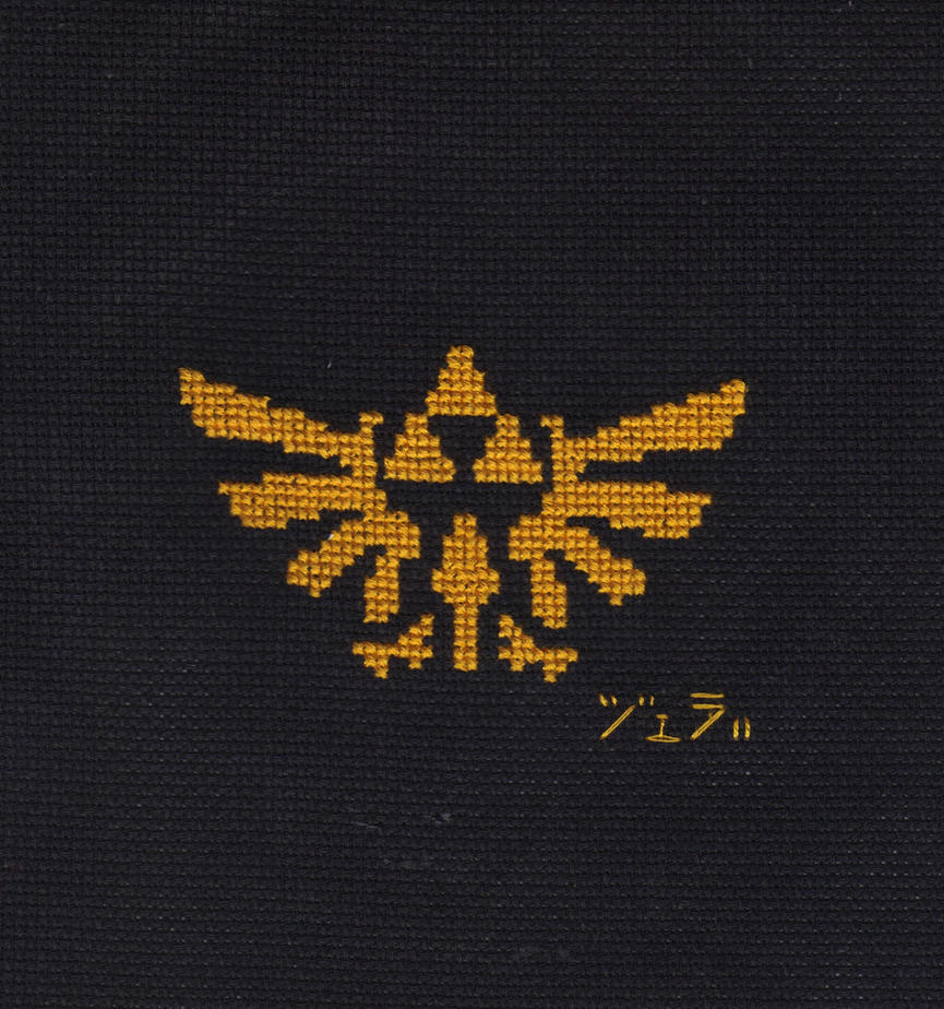Hylian Crest Cross Stitch by JealaTriumph