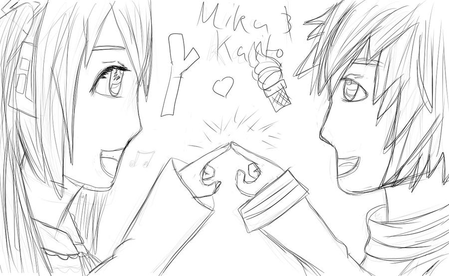 Miku and Kaito W.I.P by spongebobdeathnote